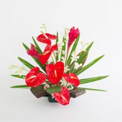 red anthurium and ginger with white orchids
