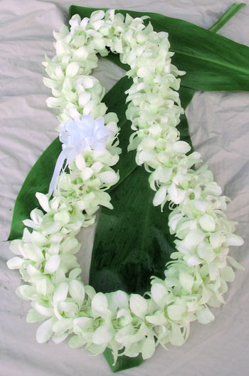 Hawaiian wedding leis white