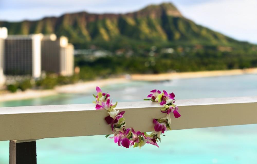 Hawaiian lei and Diamond Head