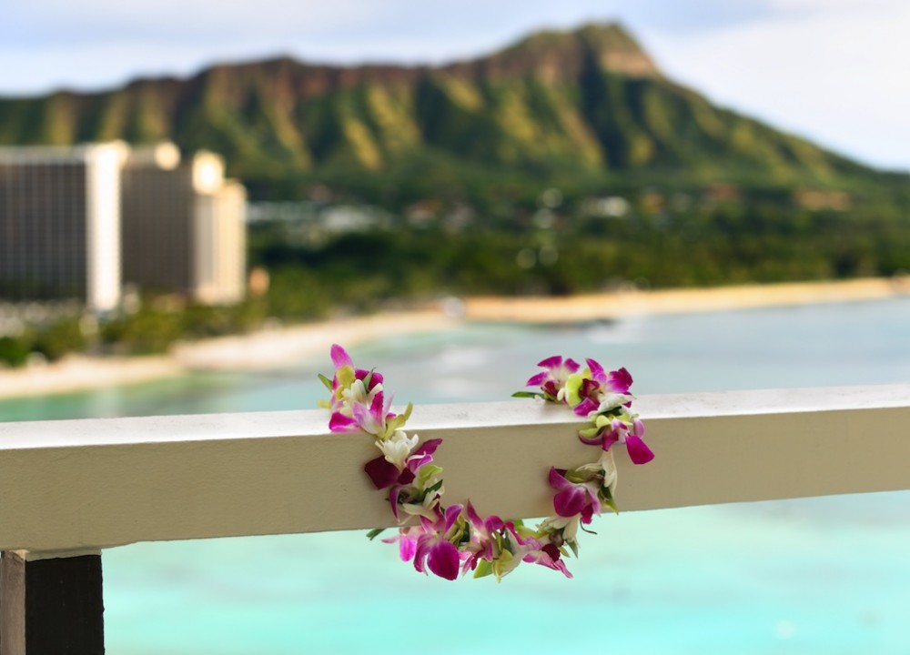 Hawaiian lei and Diamond Head